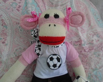 Traditional  Red Heel Sock Monkey Doll Soccer Player Girl Or Boy