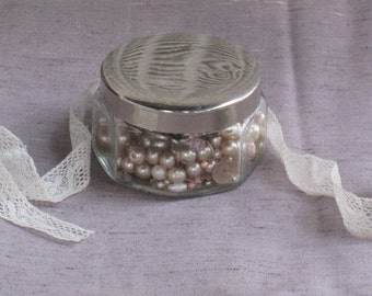 Vintage Paneled Glass Cosmetic Jar With Chrome Lid, With Vintage Beads, Faux Pearls, Sequins - Jewelry Craft  Supplies, Storage, Home Decor