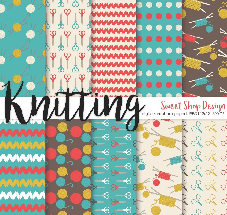 Knitting Digital Paper Printable Scrapbook Paper Pack Wool