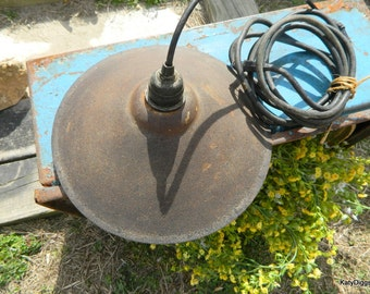 Industrial Salvage Hanging Lamp, Barn Light,,Industrial hardware lighting,