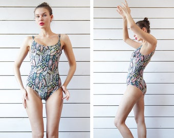 FURSTENBERG Vintage colorful floral paisley print low back mid leg cut one piece swimsuit S M