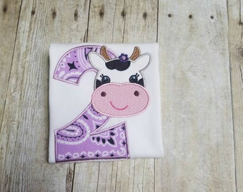 Cute Cow 2nd Birthday - Made to Order - Farm Second Birthday Appliqué Shirt - Multiple Size Options, Onesie Bodysuit