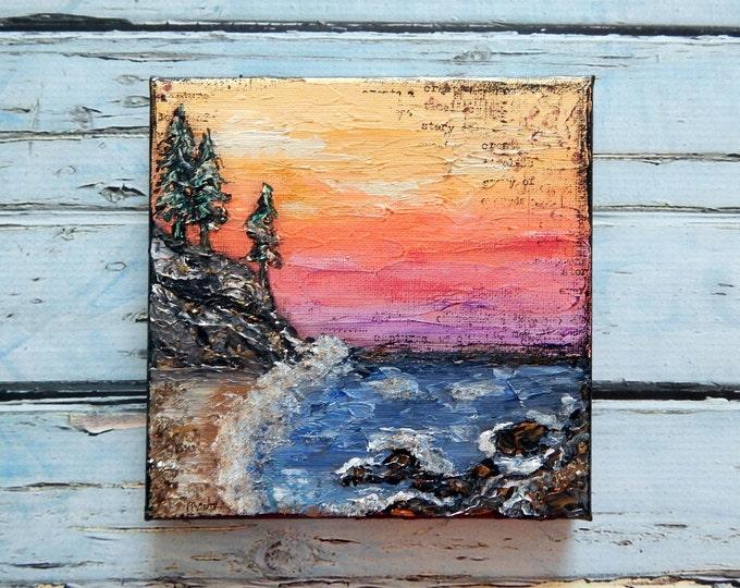 Seascape Canvas Art | Coastal Painting | Ocean Art | Beach Decor | 6x6 | Abstract Seascape No. 1 | Saltons Cove Studio