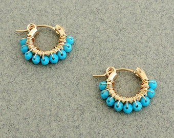 Gipsy Earrings, wire wrapped hoops, Swarovski Turquoise earrings, Gold and Turquoise earrings, Small hoop earring gold