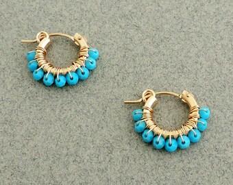 Gipsy Earrings, wire wrapped hoops, Swarovski Turquoise earrings, Gold and Turquoise earrings, Small hoop earring gold