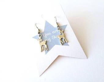 Deer earrings. Christmas deer earrings. Bambi earrings. Christmas deer earrings. Linnepin010