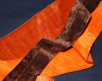 Antique terracotta, orange & brown all silk velvet ribbons 68 1/2 ins long lustrous silk reverse for doll sewing projects early 1900's
