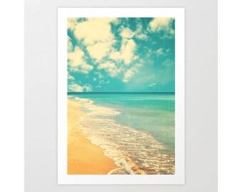 SALE, Beach print, large beach print, beach wall art, turquoise art, turquoise wall art, large art, large wall art, beach canvas art, retro