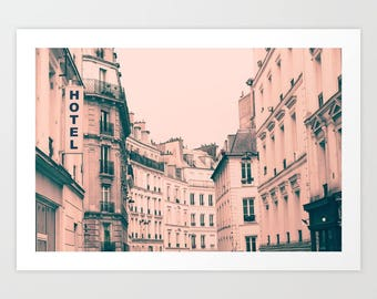 Paris photography, Paris wall art, Paris canvas, Paris print, Pink Paris art, Paris architecture, large wall art, Hotel, Paris decor