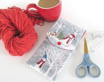 Knitting needle case, Notions case, Crochet hooks case - Snowmen in Winter DPNs Organizer