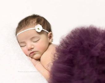 PLUM TUTU with White Headband, Newborn Tutu, Baby Tutu, Infant Tutu, Plum Baby Tutu, Photo Prop, Tutus for Children, Newborn Photo Prop