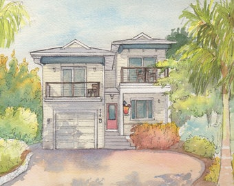Watercolor painting of vacation home, lake house, cottage, color home portrait from photo, house sketch, gift for parent, grandparent, host