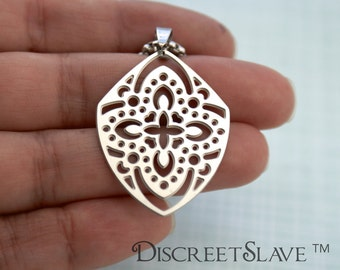 Stainless steel Mistress pendant. Lace design. Pendant for owners, Dominant or Masters in a BDSM relationship