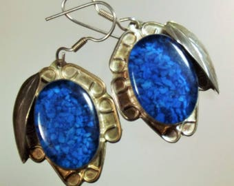 Earrings Vintage Sterling silver Turquoise in Resin Big Bold Chunky Deep Sky Blue Color Exotic Ethnic Boho Tribal
