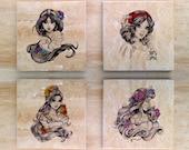 Stone Disney Princess Coasters (set of 4) - Vintage Distressed Snow White Jasmine Belle Aurora Sleeping Beauty Classy Fantasy Fairytale