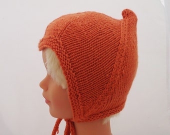 Hand knitted Baby Pixie Bonnet, Orange Pixie Hat, Baby Pixie Hat, Baby Elf Bonnet, Toddler Hat, Baby Hat