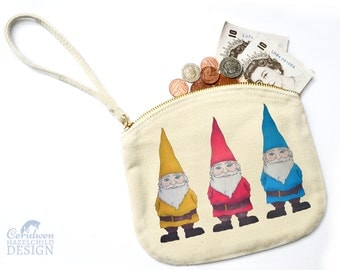 Gnomes Canvas Zip Purse, Makeup Bag, Coin Purse, Small Accessory Pouch