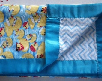 Large Baby Blanket Rubber Ducks Reversible to Chevrons Flannel with Bright Blue Satin Edge Gift  Shower Nursery Christmas Gift Duckies Boy