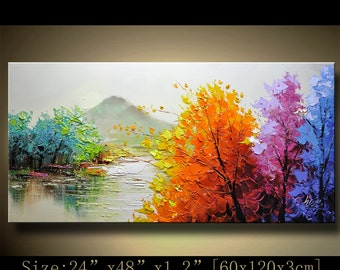 contemporary wall art,, Modern Textured Painting,Impasto  Landscape  Textured Modern Palette Knife Painting,Painting on Canvas by Chen 1128