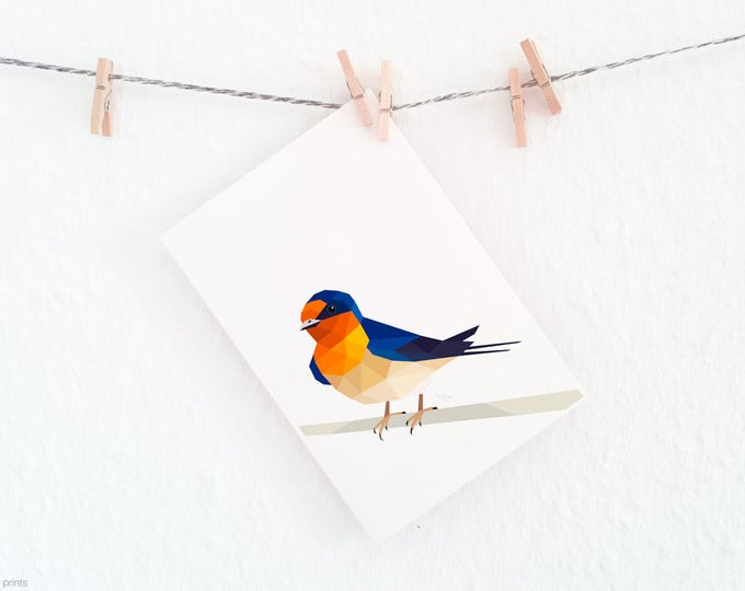 Welcome swallow illustration, New Zealand Swallow, New Zealand artist, Large animal wall art, Geometric bird logo, Orange bird, Bird art