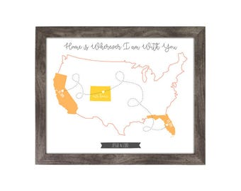 Custom State Print, His Home, Her Home, Our Home, Home is Wherever I am With You, Our Love Story, 8x10, Art Print, Anniversary Gift, Wedding