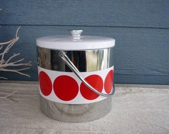 Vintage Mid Century Modern Ice Bucket, Retro Barware, Red Dot Pattern Ice Bucket