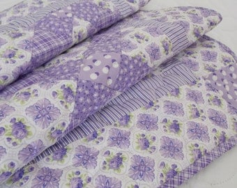 Handmade large girl baby or toddler, crib size quilt, lap shabby cottage chic, shades of lavender, purple, green, roses, buds, stripe
