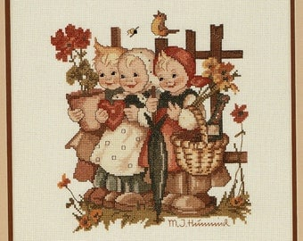 Hummel Cross Stitch Pattern, Wee Three Kids, JCA 84043, Embroidery Chart in full color, Hummel license from Goebel,unused