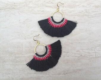 Tassel Hoop Earrings Large Black Tassel Hoop Earrings Tassle Earings BOHO Chic Earrings Gypsy Earrings, Large Black Earrings,Trendy E002