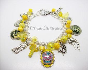 Day Of The Dead Charm Bracelet, Dia De Los Muertos, Charm Bracelet, Yellow Theme