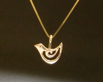 solid GOLD or rose gold Bird 14k pendant, Tiny Bird, recycled solid gold necklace, handmade in USA