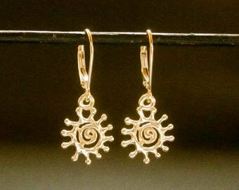 14k Spiral Sun earrings, solid gold Sun leverback dangles, recycled handmade in USA