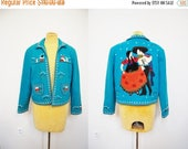 SALE: Vintage Mexican Kitsch 3D Felted Decorative OOAK  Jacket Coat Embroidered Blue Wool Spanish Dancer