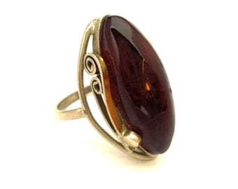 Amber Baltic Ring Vintage Genuine 4.99 Gr Cognac Color Silver Plated