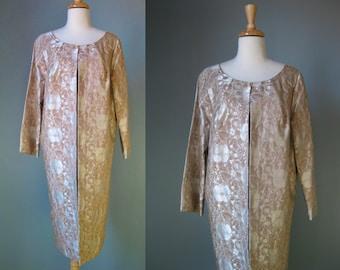 Brocade Evening Coat / Vtg 50s / Beige Floral Brocade Evening Coat / Long Collarless Evening Jacket