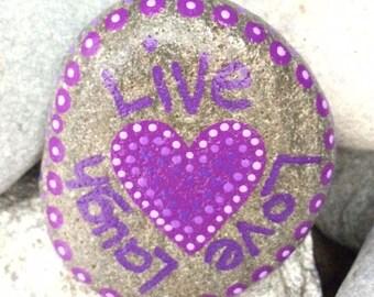 Happy Rock - Live Love Laugh - Hand-Painted River Rock Stone - purple heart lavendar iris violet valentine