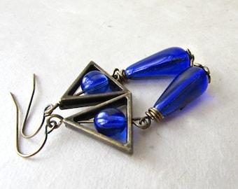 Blue Geometric Earrings. Wire Wrapped Czech Glass Dangle Earrings with Bronze Triangles. Modern Teardrop Earrings Handmade Geometric Jewelry