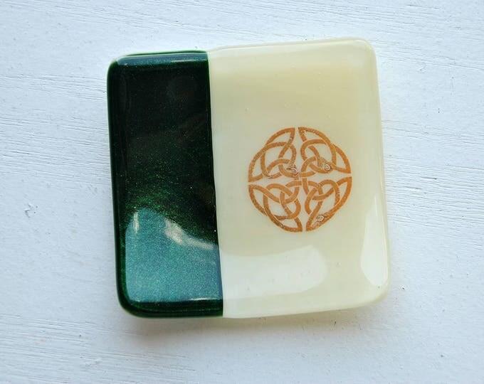 Green Celtic Shield Knot Mini Fused Glass Dish