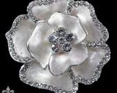 Brooch - Brooch Pin - Rhinestone Ivory Brooch - Emamel Flower Brooch - Crystal Brooch - Serenity Brooch