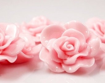 Resin Cabochon - 5pcs - Flower Cabochon - Soft Pink Flower Cabochon - Cabochon - SW005-17
