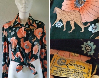 Vintage women's Quinessa nylon disco shirt long sleeve button up leopard cougar tiger jungle cat florally flower