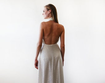 Light metallic gold halter-neck maxi gown, Backless maxi gold dress 1070.