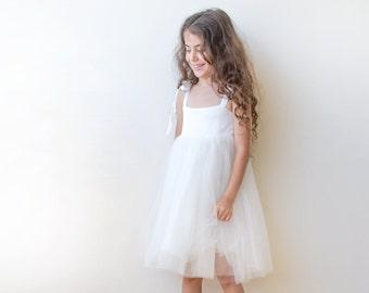 White tie-straps girls dress, White flower girl fancy dress, Ivory flower girl dress 5004