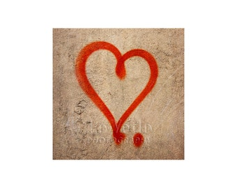 Red Heart Photo, Street Art, Sweetheart, I Love You, Young Love, Anniversary Gift, Valentine's Day