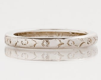 "Antique Wedding Band - Antique 14k White Gold Engraved ""1922"" Wedding Band"