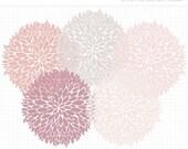 50% OFF  - Clipart - Dahlia Flowers (Pink / Mauve) Silhouette - Digital Clip Art (Instant Download)