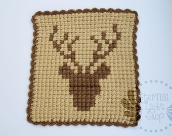 "Deer Head Crochet Blanket 16 1/2"" x 19"""