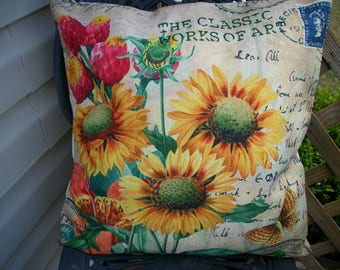 Sunflower Pillow Cover, 18 x 18  Pillow Cover, Botanical and Butterflies, Home Decor Bed Pillow Covers Sofa Pillow Covers