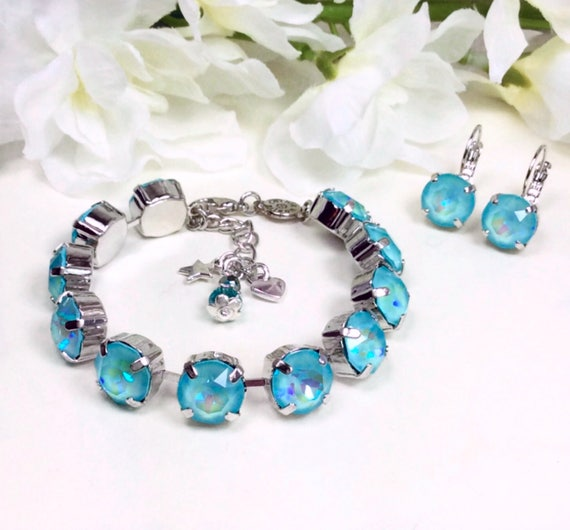 Swarovski Crystal 10mm Bracelet - Special Custom Coated ULTRA Turquoise A B Crystal Bracelet & Earrings - FREE SHIPPING -  Now On Sale !