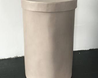 Handmade in USA! Dove gray all leather hamper with lid